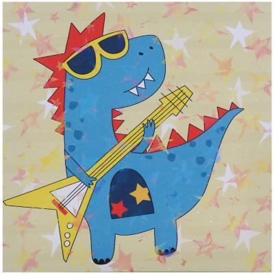 Canvas infantil dinosaurio con guitarra 28x28 cm