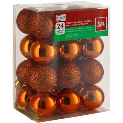 Esferas 4 cm x 24 cobre escarcha