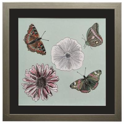Cuadro mariposas flores 50x50 cm
