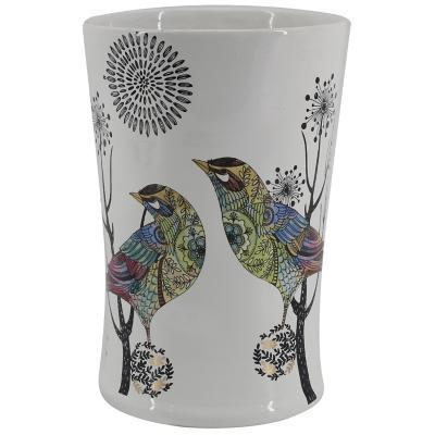 Jarrón cilindro pájaros 19 cm