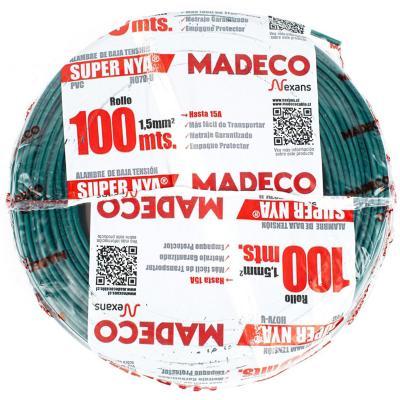 Alambre de cobre aislado (H07V-U) 1,5 mm2 100 m Verde