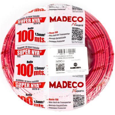 Alambre de cobre aislado (H07V-U) 1,5 mm2 100 m Rojo