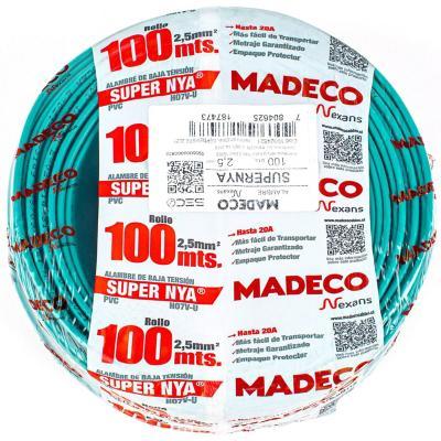 Alambre de cobre aislado (H07V-U) 2,5 mm2 100 m Verde