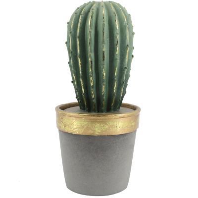 Cactus Base Gris con Dorado 26 cm