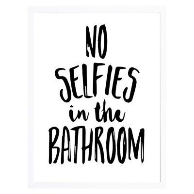 Cuadro frase no selfies 30x40cm marco blanco