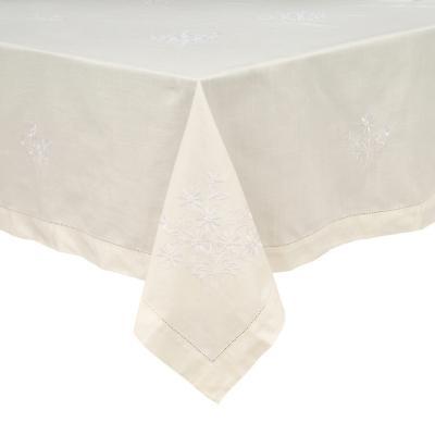 Mantel redondo bordado 180 cm blanco