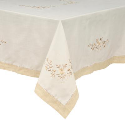 Mantel bordado 90x90 cm blanco beige