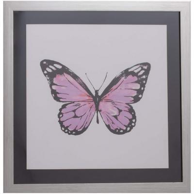 Cuadro mariposa rosada 50x50 cm
