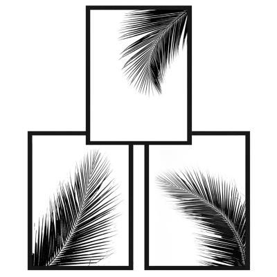Set 3 cuadros 40x50cm hojas blanco y negro