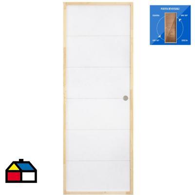 Puerta mdf 3mm blanca precolgada dual izquierda-derecha 70x200 cm
