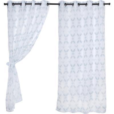 Set de velos Mykonos 140x220cm blanco/turquesa