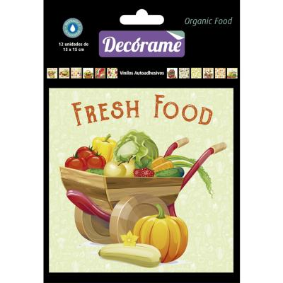 Sticker decorativo organic food 15x15 cm 12 unidades
