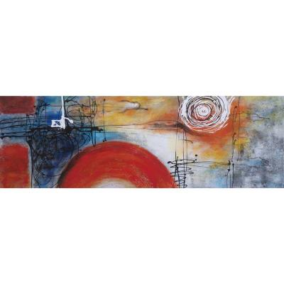 Oleo abstracto luna madera con tela multicolor 40x120x2,8cm 1,09kg