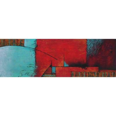Oleo abstracto colores madera con tela multicolor 40x120x2,8 1,09kg