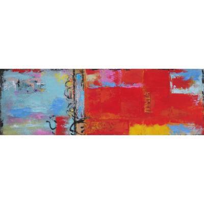 Oleo abstracto moderno madera con tela multicolor 40x120x2,8cm 1,09kg