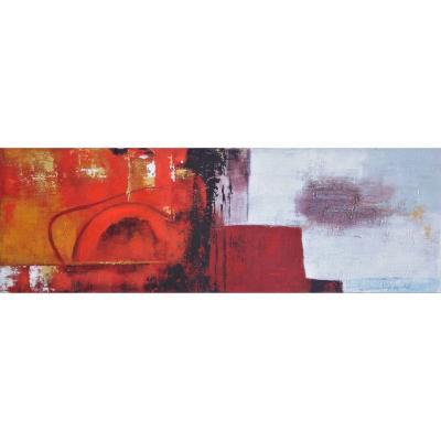 Oleo abstracto contemporaneo multicolor madera con tela 40x120x2,8cm