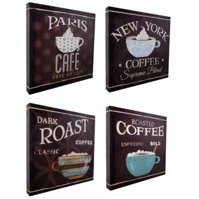 Set 4 canvas serie café 25x25 cm