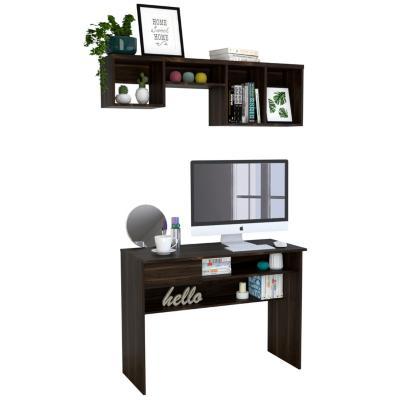 Set escritorio + repisa habano