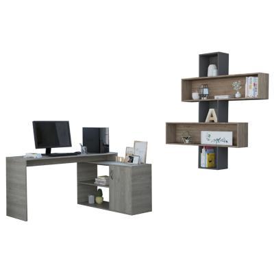 Set escritorio + repisa ceniza