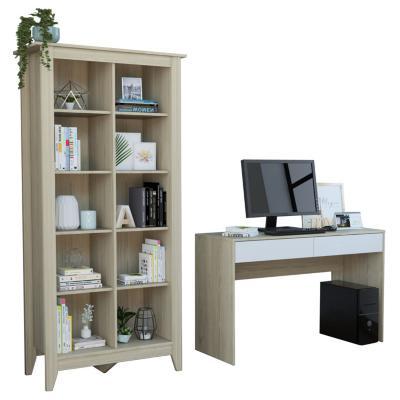 Set escritorio + estante oak/blanco