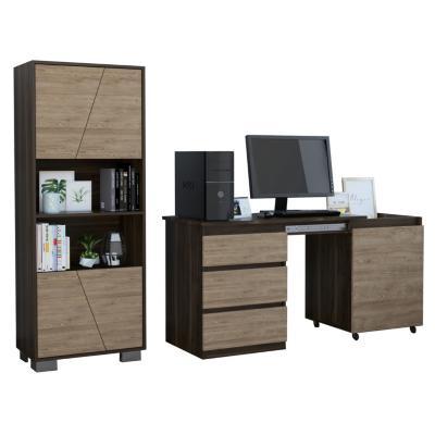 Set escritorio + estante habano/miel
