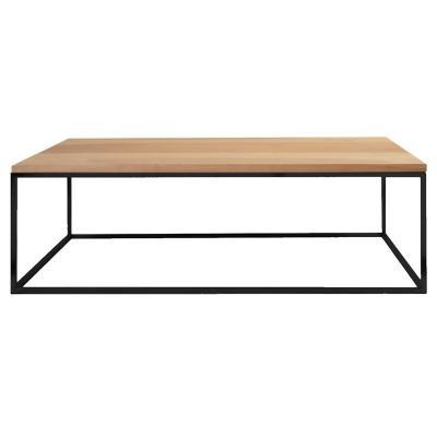 Mesa cubo 120x75 cm negra con madera lenga