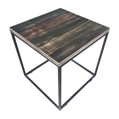 Mesa cubo 50x50 cm negra con madera carbón