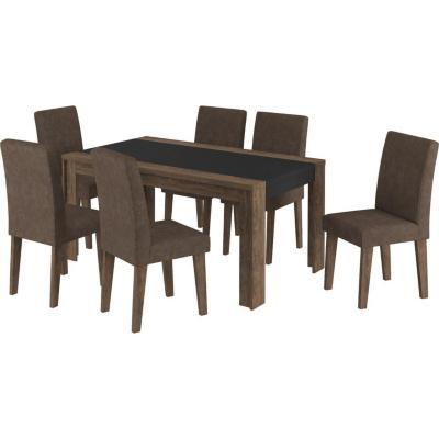 Juego de comedor 6 sillas 160x90 Chocolate