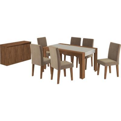 Juego de comedor 6 sillas + Buffet 160x90 Nogal