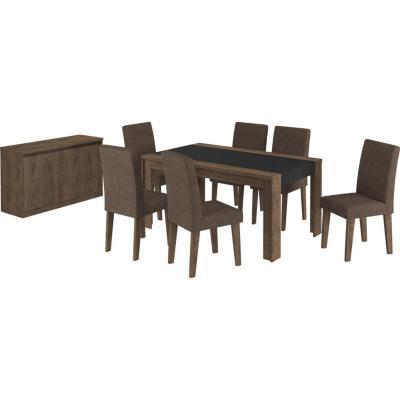 Juego de comedor 6 sillas 160x90 Café