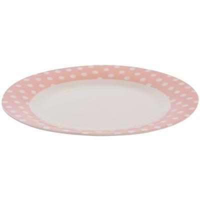 Plato comida puntos rosado
