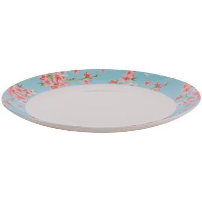 Plato comida floral turquesa