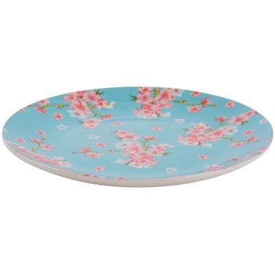 Plato ensalada floral turquesa