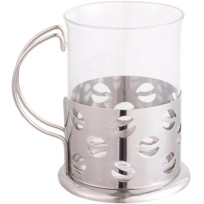 Mug vidrio con base metal