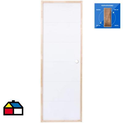 Puerta Terciado Huilo precolgada Dual con perforación blanca 80 x 200 cm