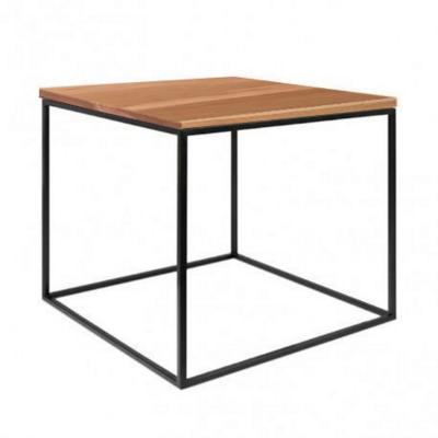 Mesa cubo 50x50 cm negra con madera lenga