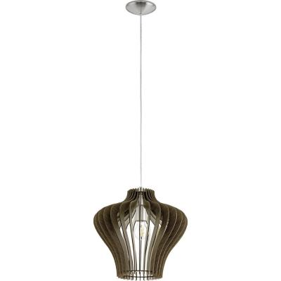 Lámpara colgante Cossano madera 60W E27 café