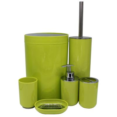 Set de 6 accesorios de baño verde