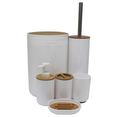 Set de 6 accesorios de baño blanco y madera