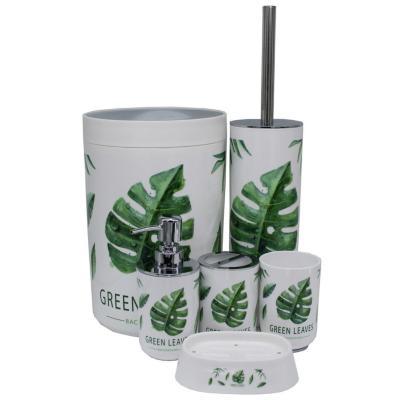 Set de 6 accesorios baño hojas verdes