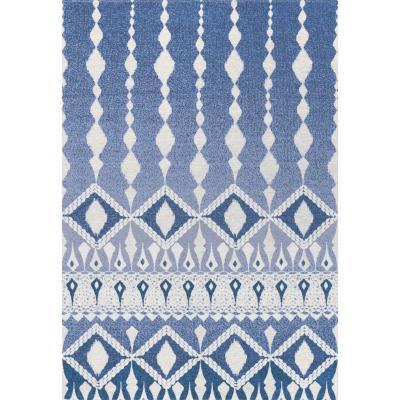 Bajada de cama kabul Batik 60x90 cm azul/blanco