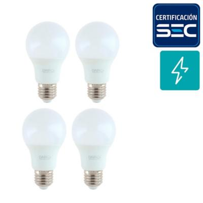 Pack 4 Ampolletas led A60 E27 7.5W luz fria