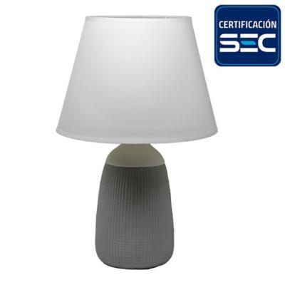 Lámpara sobremesa cerámica 42 cm gris