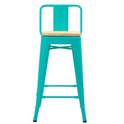 Piso respaldo bajo turquesa asiento madera 77 cm