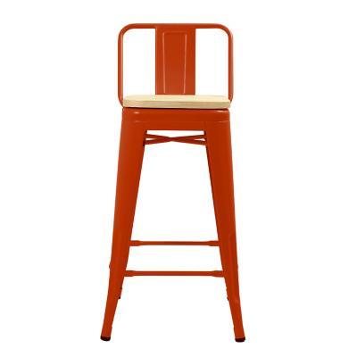 Piso respaldo bajo rojo con asiento madera 66 cm