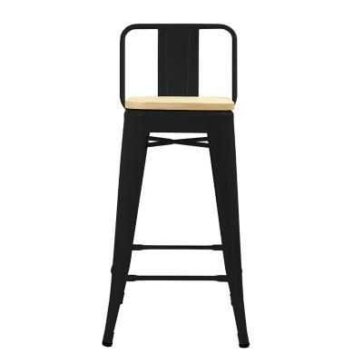 Piso respaldo bajo negro con asiento madera 66 cm