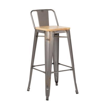 Piso respaldo bajo gunmetal asiento madera 77 cm
