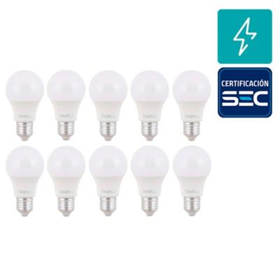 Pack 10 focos led A60 8,5 W E27 LC