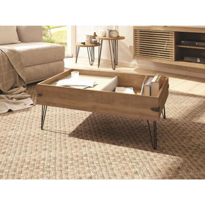 Mesa de centro 90x57,2x35 cm natural/blanco