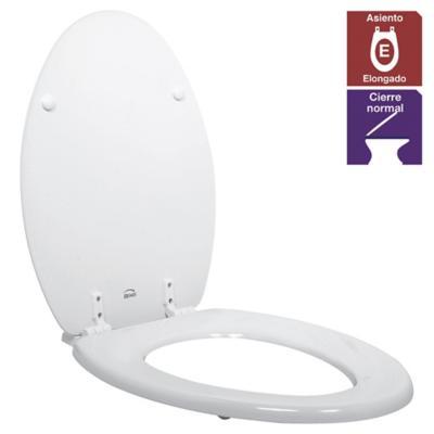 Asiento WC elongado madera blanco